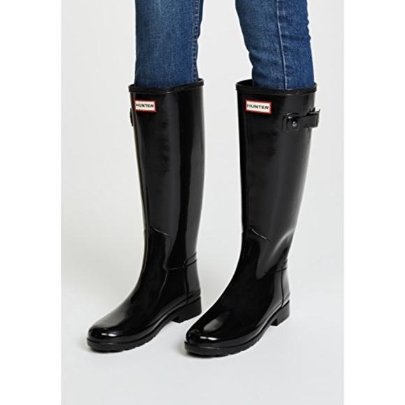 Black Hunter Tall Gloss Rain Boots